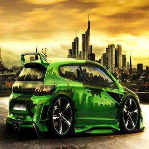 Green Speed Racing Car